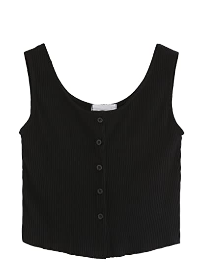 85b7b50134c SweatyRocks Women's Sleeveless Vest Button Front Crop Tank Top Ribbed Knit  Belly Shirt