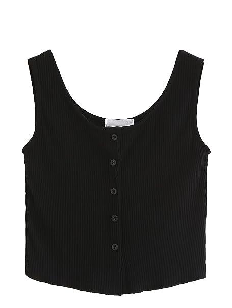 f96991d7fa7 SweatyRocks Women s Sleeveless Vest Button Front Crop Tank Top Ribbed Knit  Belly Shirt Black S