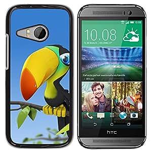 QCASE / HTC ONE MINI 2 / M8 MINI / loro selva pájaro colorido pico grande / Delgado Negro Plástico caso cubierta Shell Armor Funda Case Cover