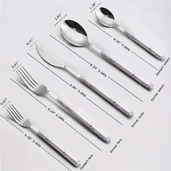 Juego de cubiertos, Vidanoble 5 piezas cuberteria acero inoxidable con mango de plástico imitación mármol Incluye cuchillo/tenedor / cuchara: Amazon.es: ...