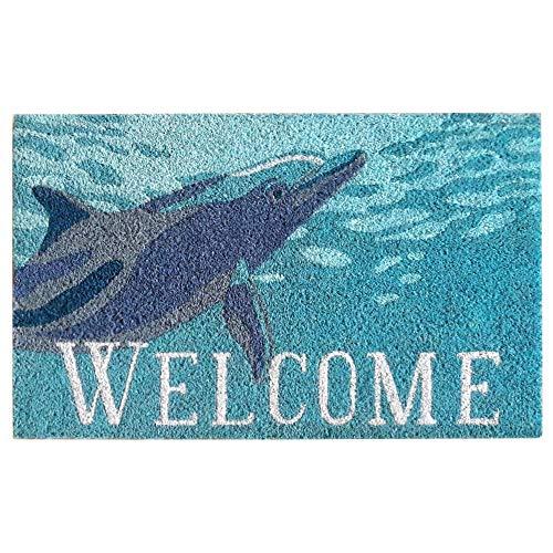 Liora Manne NTR12209504 Natura Coastal Beach Dolphin Ocean Outdoor Welcome Coir Door Mat, 18
