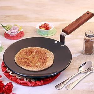 Wonderchef Hard Anodized Pure Grade Aluminum Non-Stick and PFOA-Free Indian Cooking Roti Naan Tawa; 25 cm Pan, Black