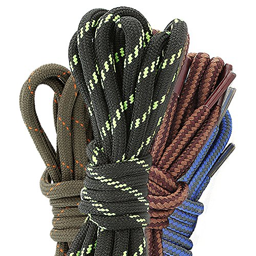DailyShoes Round Hiking Boot Shoelaces Strong Durable Stylish Shoe Laces Lissome Riparian , (Great for Bowling Shoes) Black Lime 36″ inch (91 cm), (4 PAIRS PACK)