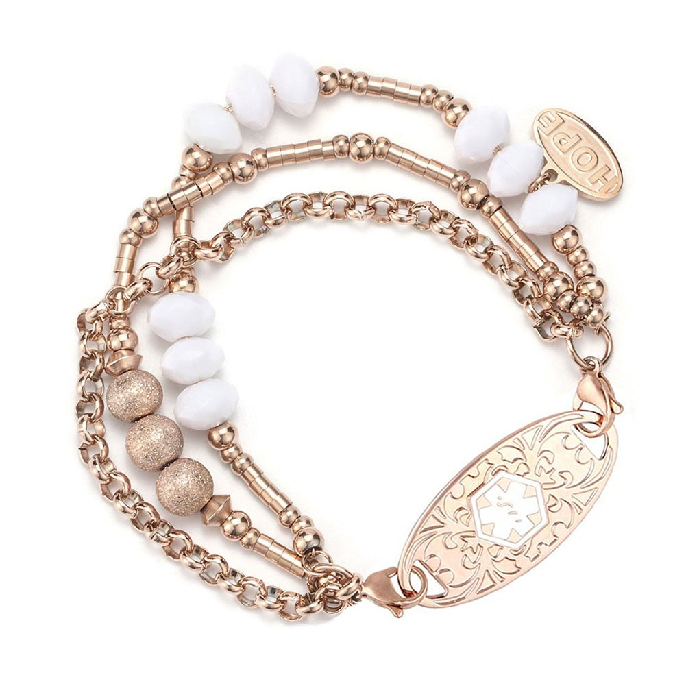 AMOZO JEWELRY Rose Gold Medical Alert ID Bracelet for Womens,8.0''