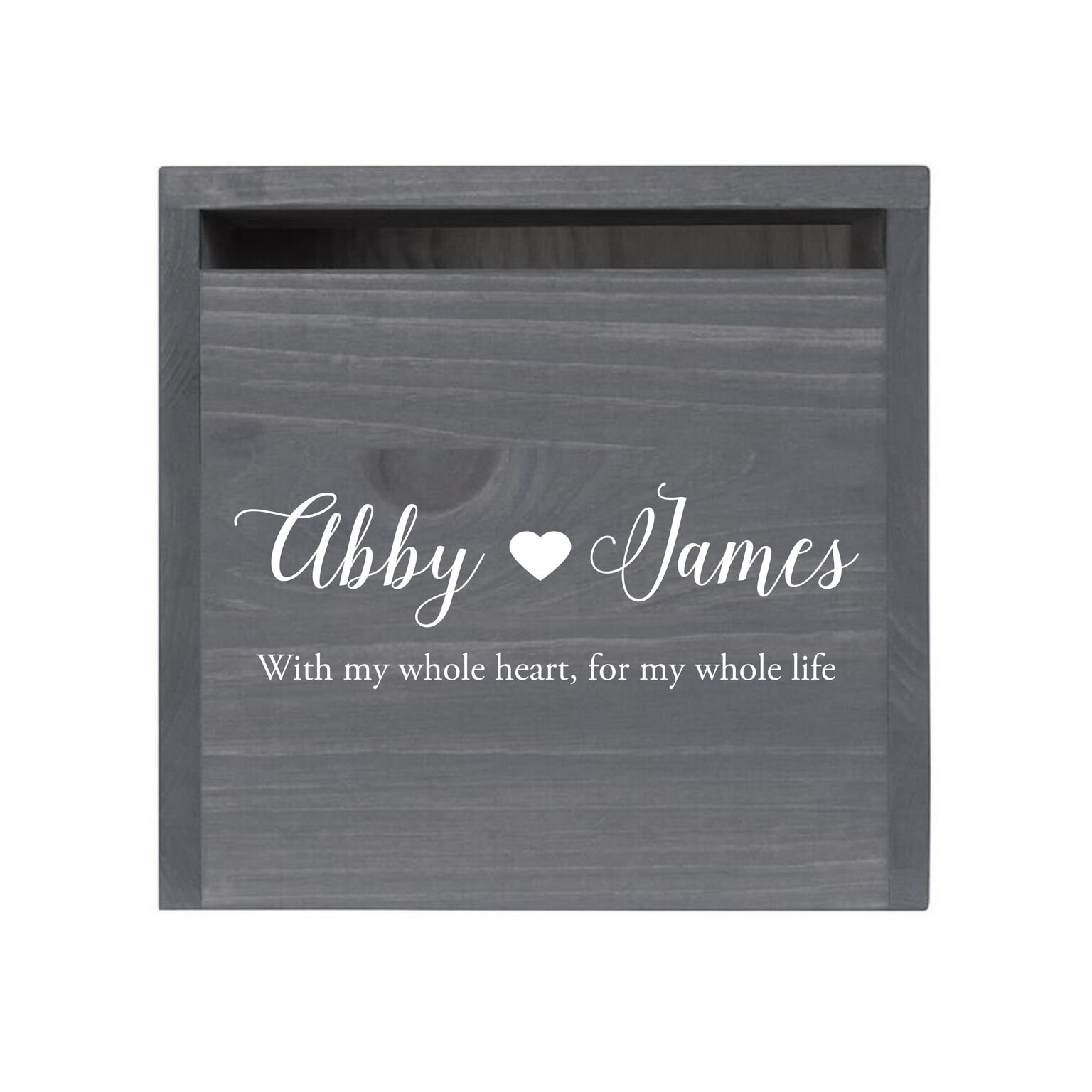 """LifeSong Milestones Personalized First Names with Heart Rustic Wooden Wedding Card Box Custom Card Holder with Front Slot for NewlyWeds Couples Reception 13.5"""" L x 12"""" W x 12.5"""" T (Grey)"""