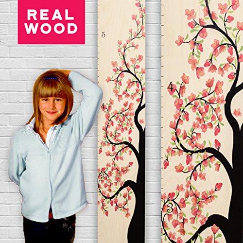 (Growth Chart Art | Wooden Growth Chart Girls | Measuring Kids Height Wall Décor | Flower Growth Chart Ruler | Tree of Life Pink Wide Version)