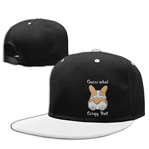 c114e5eb5c790 Image Unavailable. Image not available for. Color  Guess What Corgi Butt  Hiphop Baseball Caps Adjustable Snapback Hat Men s White