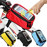 JOY COLORFUL Bicycle Bags Bicycle Front Tube Frame Cycling Packages Touch Screen Mobile Phone Bags Professional Bicycle Accessories, Red, Medium