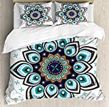 teal and brown bedding  Mandala Duvet Cover Set King Size, Boho Lotus Flower Stylized Microcosm Motif Unique Retro Theme Ancient, Decorative 3 Piece Bedding Set with 2 Pillow Shams, Purple Brown and Teal