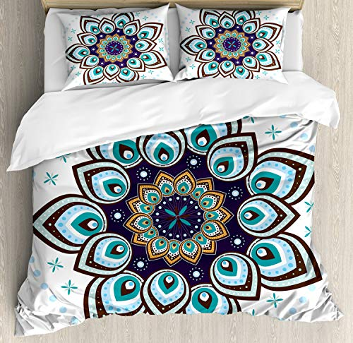 Mandala Duvet Cover Set King Size, Boho Lotus Flower Stylized Microcosm Motif Unique Retro Theme Ancient, Decorative 3 Piece Bedding Set with 2 Pillow Shams, Purple Brown and Teal