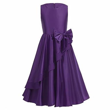 5a07e904844ee iiniim Robe de Cérémonie Longue Enfant Fille Satin Asymétrique Robe de  Soirée Mariage Invité Costume de