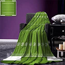 smallbeefly Football Digital Printing Blanket Sports Field in Green Gridiron Yard Competitive Games College Teamwork Superbowl Summer Quilt Comforter Green White