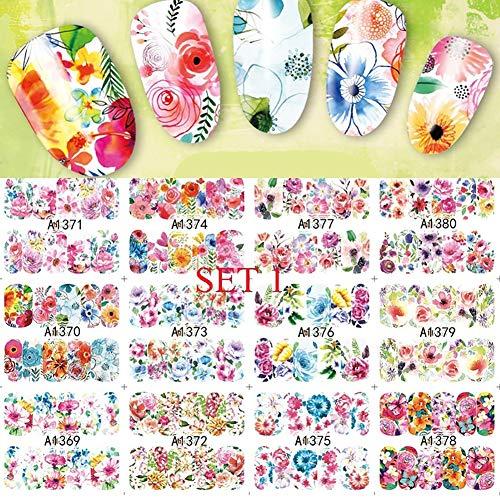bromrefulgenc Cutting Dies 24 Sheets Flower Leaves Printed DIY Nail Art Sticker Manicure Decor Decal Tool 1# -
