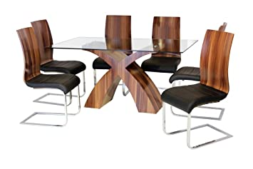 Holte Glass Dining Table Walnut Colour With 6 Chairs Stylish