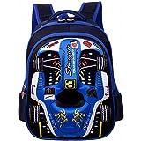 クールレーシングカー3Dプリントバックパック - 幼稚園や小学生向け - ユニセックス防水スクールバッグ(スリーサイズ)