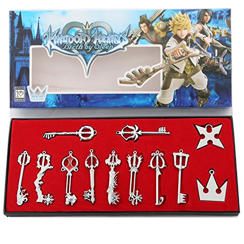 XCOSER® Kingdom Hearts Keyblade Sora Weapon Keychain Pendant for Collection Silver 12pcs - Heart Pewter Keychain