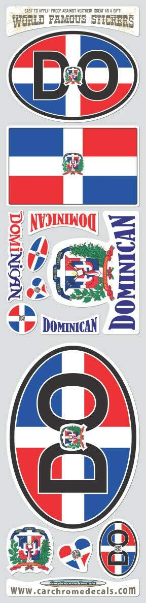 Dominican Republic 13 Stickers Set Flag Decals Bumper car auto Bike Laptop