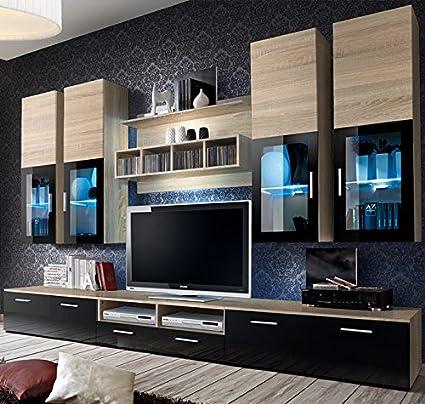 muebles bonitos mueble de salon modelo acosta color sonoma con negro 3 m - Muebles Bonitos