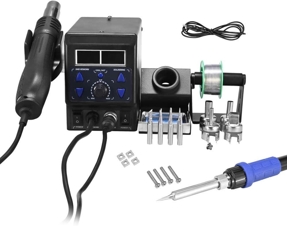 Kacsoo Estación de soldador, estación de soldadura digital profesional de 700 W, kit de herramientas de reparación de temperatura ajustable de 100-480 ℃ con puntas de soldadura, etc.