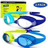 OutdoorMaster Kids Swim Goggles 2 Pack - Quick Adjustable Strap Swimming Goggles with Clear/Tinted Lens 3D SNUG Fit Anti-Fog Waterproof 100% UV Protection for Child Teens Toddler Age (3-16)