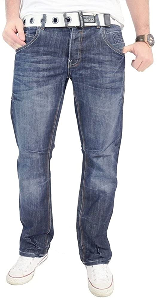 f17bf9b22d1 Crosshatch Mens Denim Jeans Trousers with Free Canvas Belt (30W X 34L,  Light Wash): Amazon.co.uk: Clothing
