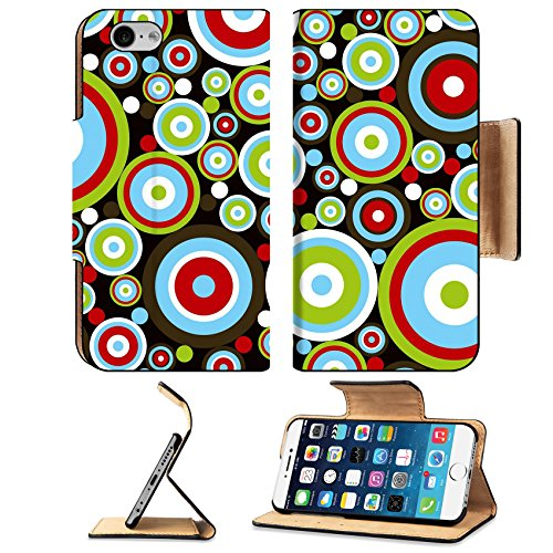Liili Premium Apple iPhone 6 iPhone 6S Flip Pu Leather Wallet Case IMAGE ID: 1874490 retro power red blue green circles on (Chocolate Disco Dot)