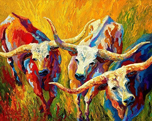 Art Prints on Canvas Animal Painting for Home Decoration, Texas Longhorn Pattern, 40x32 Inch Canvas by Y&J