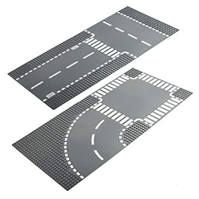 LVHERO 4 City Street Plates Road Baseplates for Lego City, Straight and T Junction 60236, Curve and Crossroad 60237, Building Kit: Toys & Games
