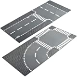 LVHERO 4 City Street Plates Road Baseplates for Lego City, Straight and T Junction 60236, Curve and Crossroad 60237…