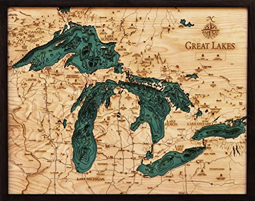 Great Lakes 3-D Nautical Wood Chart, 24.5'' x 31'' by Woodchart