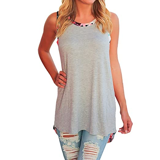 Teresamoon Sleeveless Blouse, Clearance Deal Womens Print Pullover Tops Shirt (Gray, US XS