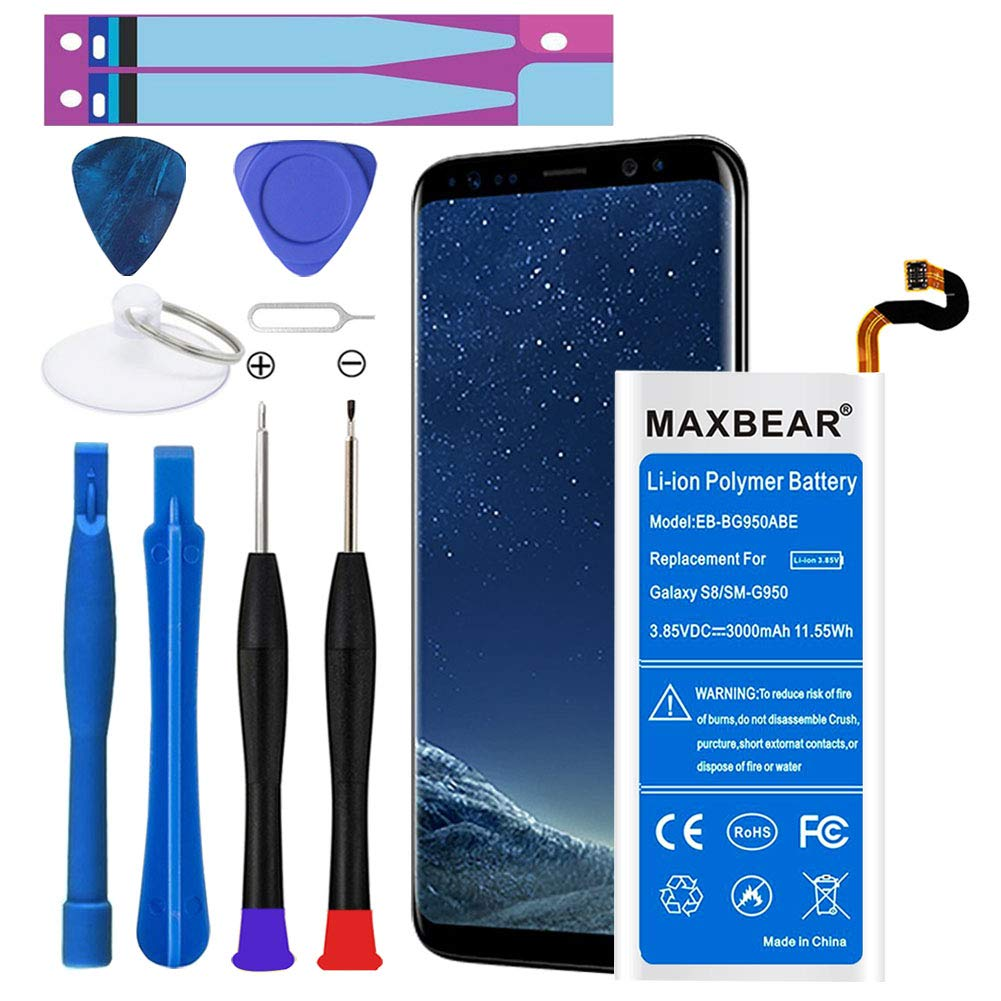 Galaxy S8 Battery, MAXBEAR [3000mAh] Lithium Polymern Internal Battery Replacement for Samsung Galaxy S8 SM-G950 EB-BG950ABE with Repair Tool Kit.[12 Month Warranty] by MAXBEAR