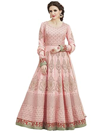c7067eda46 Amazon.com: EthnicWear Trendy Designer Sangeet Party Wear Pink Art Silk  Resham Embroidered Stone Work Anarkali Salwar Suit: Clothing