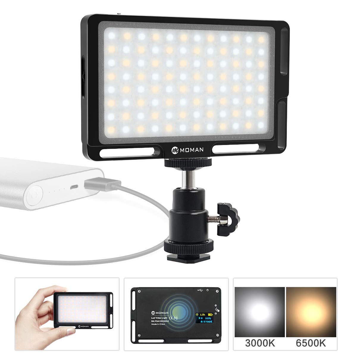 Moman On Camera Video Light for DSLR, 4.5 Inch 96 LED Panel CRI 96 Megnetic Bi-Color 3000K-6500K Brightness Dimmable OLED Display, Aluminum (Black)