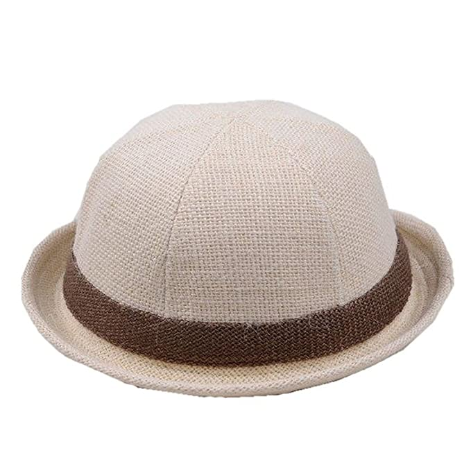 a82c45dce70 Amazon.com  Rejected all traditions Unisex Kids Solid Color Contrast Band  around Roll Brim Fedora Trilby Derby Hat Cap - Beige  Baby
