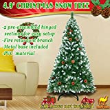 Strong Camel 5' Green Snow Tipped Christmas Tree with 23 pinecones Artificial Realistic Natural Branches -Unlit 150CM 450 Tips with Steel Stand
