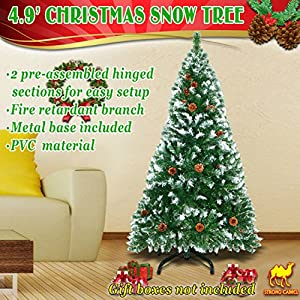 Strong Camel 5' Green Snow Tipped Christmas Tree with 23 pinecones Artificial Realistic Natural Branches -Unlit 150CM 450 Tips with Steel Stand 92