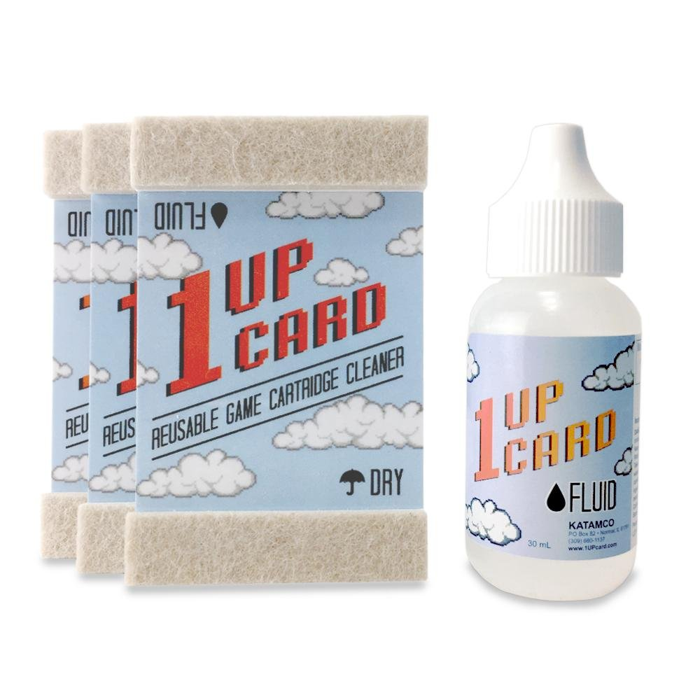 1UPcard Video Game Cartridge Cleaning Kit | 3 Pack of Cards with Cleaning Fluid | Nintendo, Super NES, Sega Genesis, N64, Gameboy, Atari & More
