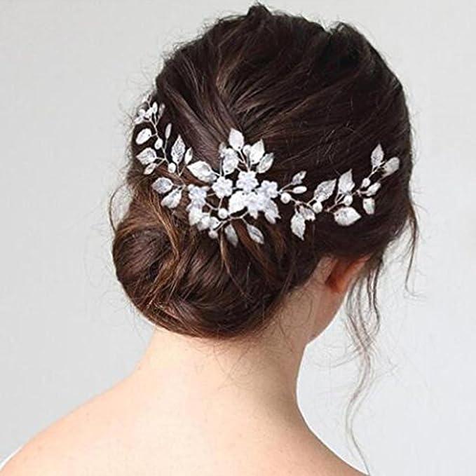 Diadema para tocado de novia y dama de honor, diseño floral, color plateado