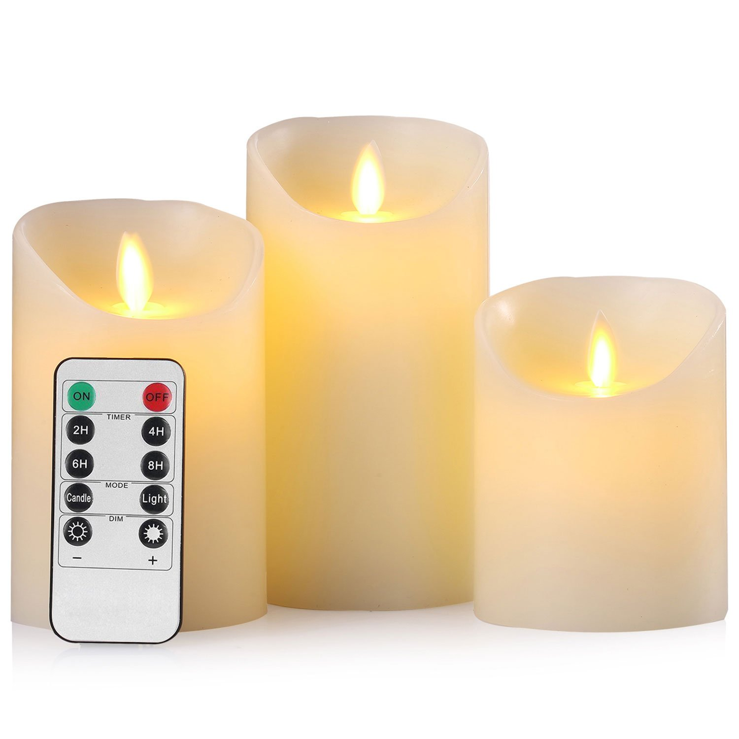 Flameless Candles Battery Operated Pillar Real Wax Flickering Moving Wick Electric LED Candle Sets with Remote Control Cycling 24 Hours Timer by Aku Tonpa, 4'' 5'' 6'' Pack of 3