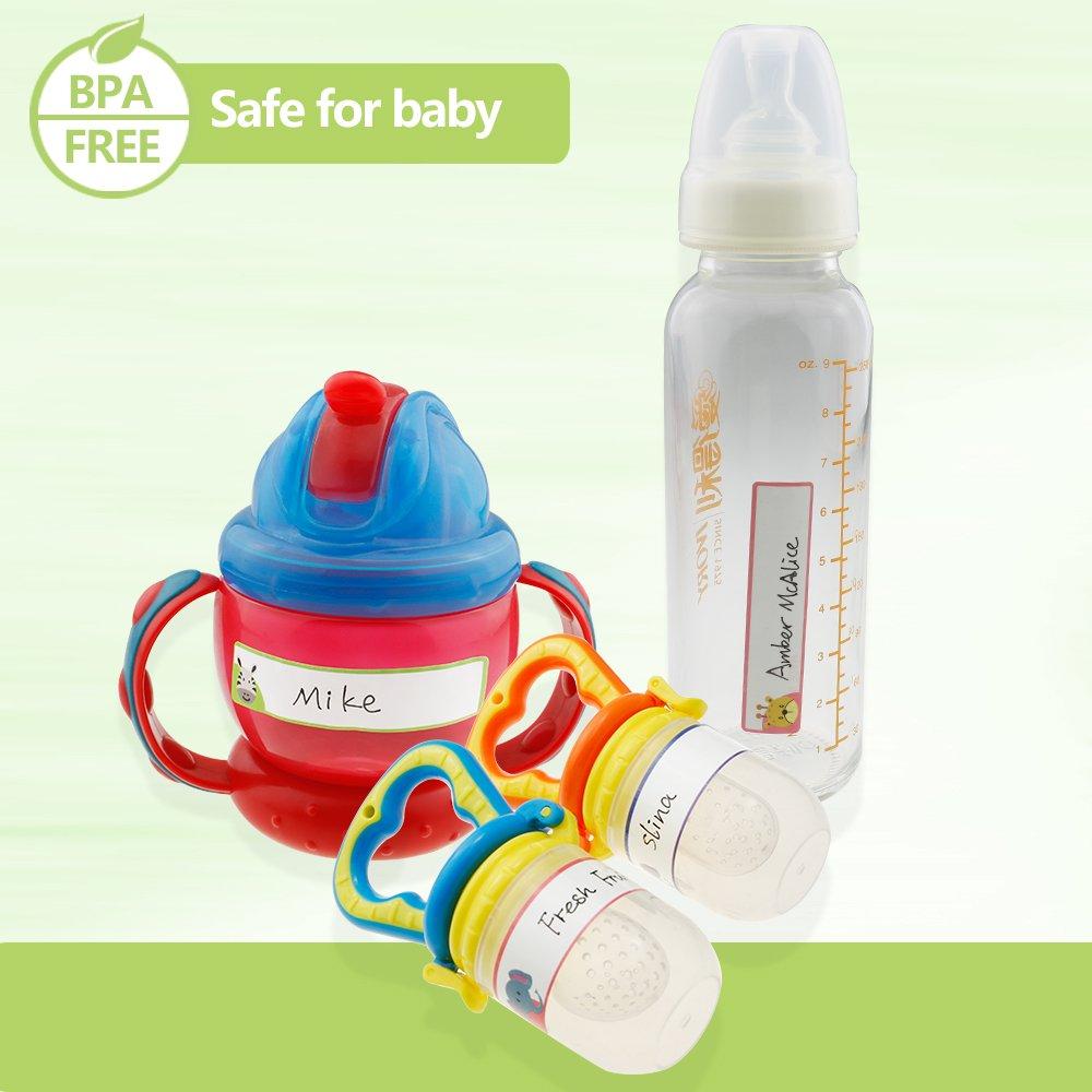 Waterproof Self-Laminating Labels for Daycare Adorable Design,128Labels Itari Baby Bottle Labels Name Label for Kid Dishwasher Safe