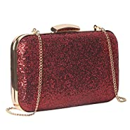 M10M15 Women Red Glitter Clutch Purse Handbag in Hardcase with Strap Chain for Wedding and Party