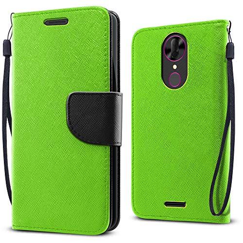 (FINCIBO Case Compatible with Coolpad Revvl Plus 6.0 inch 3701A, Fashionable Flap Wallet Pouch Cover Case + Card Holder Kickstand for Revvl Plus (NOT FIT Revvl 2 Plus) - Solid Neon Fluorescent Green)