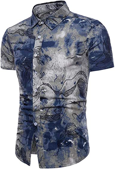 Camisetas Hombre Manga Corta, SHOBDW Estampado Floral Verano Bohe Cuello Doblado Tops Blusa Básica De Lino Delgado Camisa De Trabajo De Oficina Talla Grande Camiseta para Hombre: Amazon.es: Ropa y accesorios