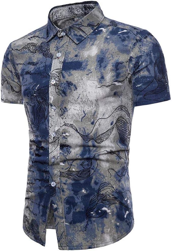Camisetas Hombre Manga Corta, SHOBDW Estampado Floral Verano Bohe ...