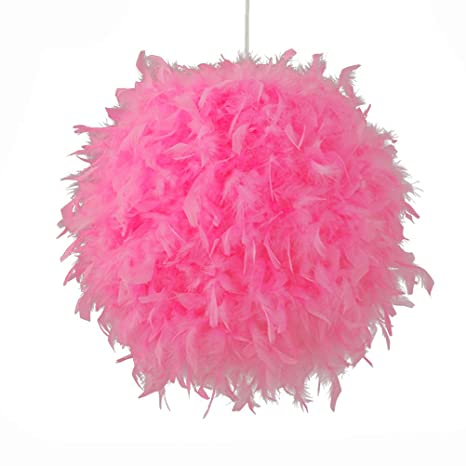 LEDMOMO Feather Ceiling Pendant Light Shade, Pink Feather Ball ...