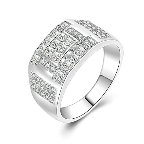 (compromiso anillos) Adisaer plata anillos para hombre boda bandas cuadrado circonitas cúbicas