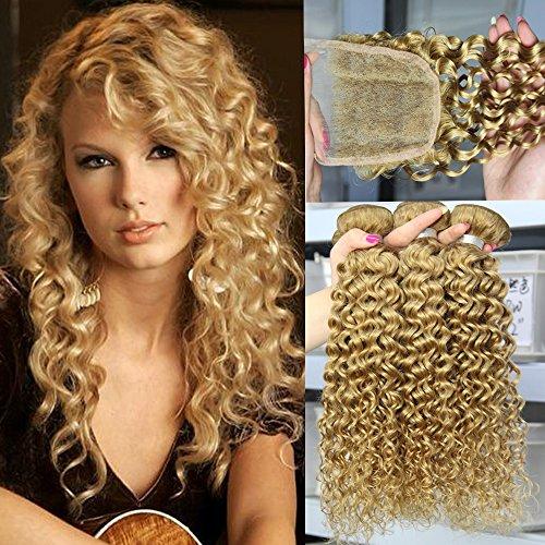 Orange Bundle - Afro Kinkys Curly Hair Bundles - ORANGE STAR Unprocessed Peruvian Blonde Human Hair Extensions 3 Bundles Deep Kinky Curly Weave With Lace Closure