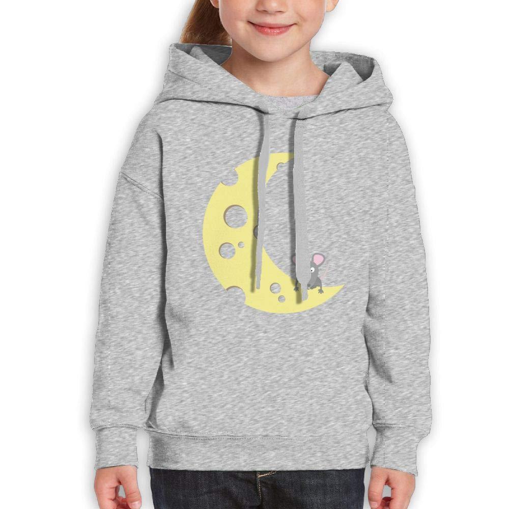 Qiop Nee Funny Mouse Moon Cheese Unisex Hoodie Print Long Sleeve Sweatshirt Girl