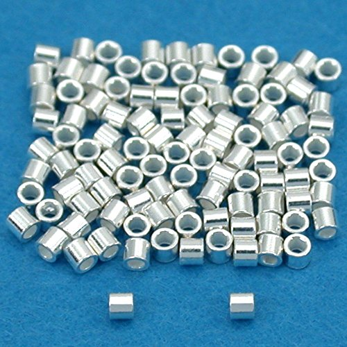 100 Sterling Silver Crimp Beads Ultra Micro 1mmx1mm -